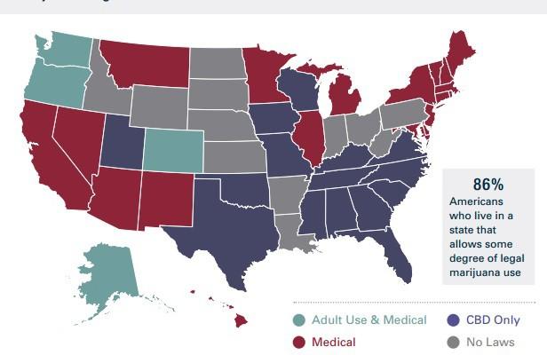 Map of Legalized Marijuana States in America