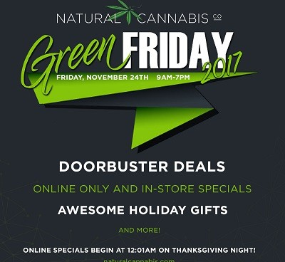THE NATURAL CANNABIS COMPANY OFFERS GREEN FRIDAY DOORBUSTERS, BEST OF THE HARVEST BOXES AND CRAFT CANNABIS SPECIALS